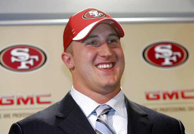 FILE - In this April 29, 2007, file photo, San Francisco 49ers first round NFL football draft pick Joe Staley smiles during a news conference at 49ers headquarters in Santa Clara, Calif. Staley was the one constant in San Francisco during a more than decade-long roller coaster that saw the 49ers go from the basement to the Super Bowl twice in a career that ended with his retirement last week. (AP Photo/Paul Sakuma, File)