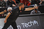 Texas Tech coach Chris Beard yells to the team during the second half of an NCAA college basketball game against Abilene Christian, Wednesday, Dec. 9, 2020, in Lubbock, Texas. (AP Photo/Brad Tollefson)