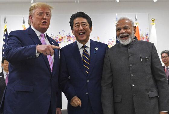 Donald Trump, Shinzo Abe, Narendra Modi