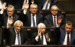 Leader of the Polish Law and Justice rulling party Jaroslaw Kaczynski, center bottom, during the inaugural session of the Sejm, Polish Parliament, in Warsaw, Poland, Tuesday, Nov. 12, 2019.(AP Photo/Czarek Sokolowski)
