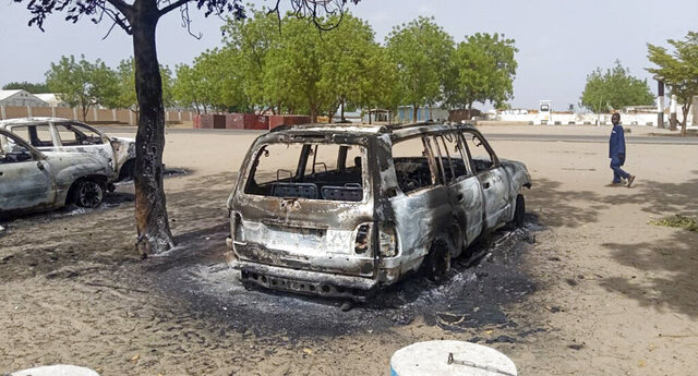 This photo taken Saturday, June 13, 2020 shows the aftermath of an attack by Islamic extremists in Monguno, northeastern Nigeria. Three attacks by Islamic extremists, including an assault on Monguno, a military garrison town, killed more than 40 people in Nigeria's northeastern Borno state. (UNDSS via OCHA, via AP)