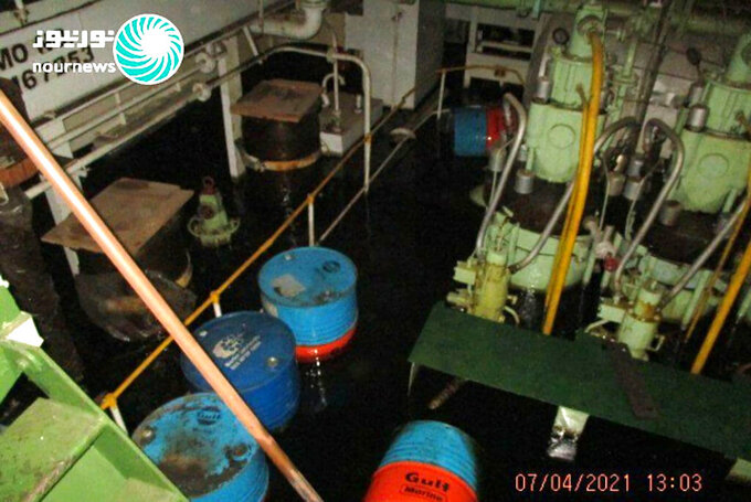 This photo released by Nournews on Thursday, April 8, 2021, shows the flooded engine room of the Iranian ship MV Saviz after being attacked in Red Sea off Yemen. An attack Tuesday on the Iranian cargo ship said to serve as a floating base for its paramilitary Revolutionary Guard off Yemen has escalated a yearslong shadow war on Mideast waters, just as world powers negotiate over Tehran's tattered nuclear deal. (Nournews via AP)