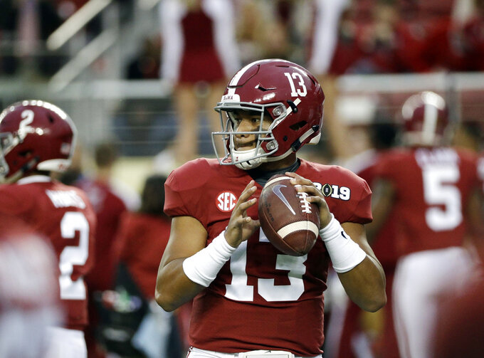 Alabama's Tua Tagovailoa warms up before the NCAA college football playoff championship game against Clemson, Monday, Jan. 7, 2019, in Santa Clara, Calif. (AP Photo/David J. Phillip)