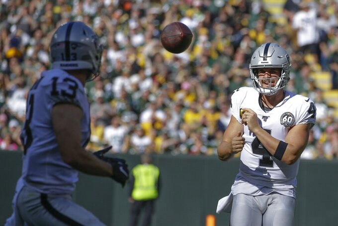 Oakland Raiders' Derek Carr throws to Hunter Renfrow during the first half of an NFL football game against the Green Bay Packers Sunday, Oct. 20, 2019, in Green Bay, Wis. (AP Photo/Jeffrey Phelps)