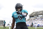 Coastal Carolina wide receiver Aaron Bedgood (3) celebrates a touchdown during the first half of a NCAA college football game against Buffalo in Buffalo, N.Y. on Saturday, Sept. 18, 2021. (AP Photo/Joshua Bessex)