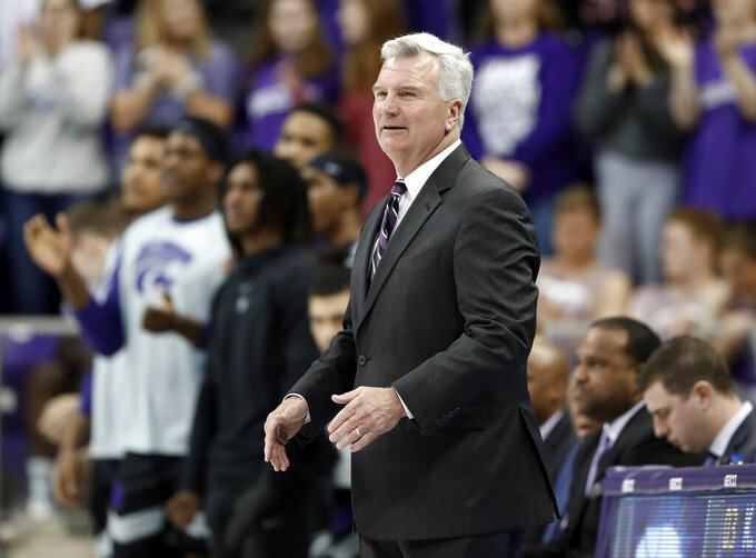 FILE - In this March 4, 2019, file photo, Kansas State head coach Bruce Weber watches his team play during an NCAA college basketball game against TCU in Fort Worth, Texas. Weber walked into the Kansas State practice gym a year ago knowing precisely what to expect, thanks in part to five returning starters and a bevy of experience sitting on his bench. (AP Photo/Tony Gutierrez, File)