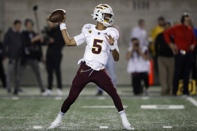 Arizona State quarterback Jayden Daniels passes against California in the first half of an NCAA college football game, Friday, Sept. 27, 2019, in Berkeley, Calif. (AP Photo/Ben Margot)