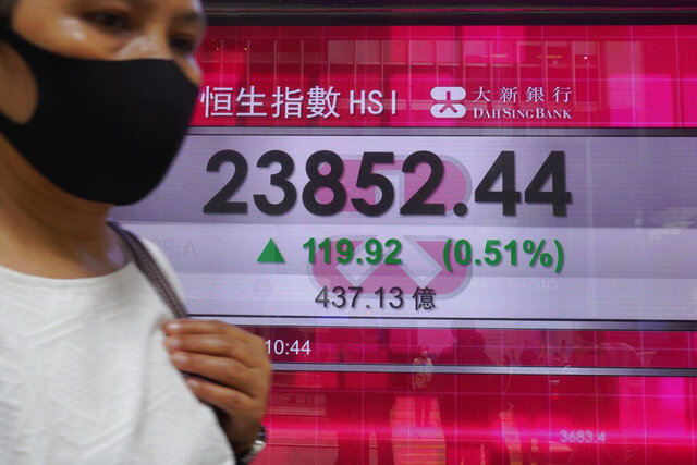 A woman wearing face mask walks past a bank electronic board showing the Hong Kong share index at Hong Kong Stock Exchange Tuesday, June 2, 2020. Shares were mostly higher in Asia on Tuesday, lifted by moves to reopen many regional economies from shutdowns aimed at containing the coronavirus pandemic. (AP Photo/Vincent Yu)