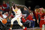 Iowa State guard Marial Shayok, left, steals the ball from Oklahoma guard Rashard Odomes, right, during the second half of an NCAA college basketball game, Monday, Feb. 25, 2019, in Ames, Iowa. (AP Photo/Charlie Neibergall)