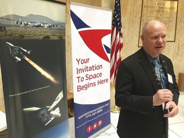 FILE - This Jan. 29, 2018, file photo, shows Dan Hicks, CEO of Spaceport America, speaking in Santa Fe, N.M. The interim leader of Spaceport America says an investigation into the conduct of the organization's chief executive officer is ongoing and that initial findings are expected in the coming weeks. Scott McLaughlin testified Wednesday, Sept. 2, 2020, before a New Mexico legislative panel, saying the recent shakeup stemming from a whistleblower complaint filed in June has left the spaceport in a difficult situation. Dan Hicks was placed on administrative leave after being accused of circumventing internal financial controls and accounting procedures. (AP Photo/Morgan Lee, File)