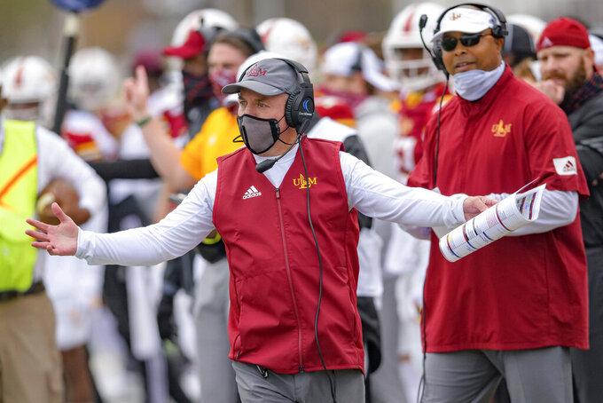 Louisiana-Monroe head coach Matt Viator reacts to a call in the first half of an NCAA college football game against Louisiana-Lafayette in Monroe, La., Saturday, Nov. 28, 2020. (AP Photo/Matthew Hinton)