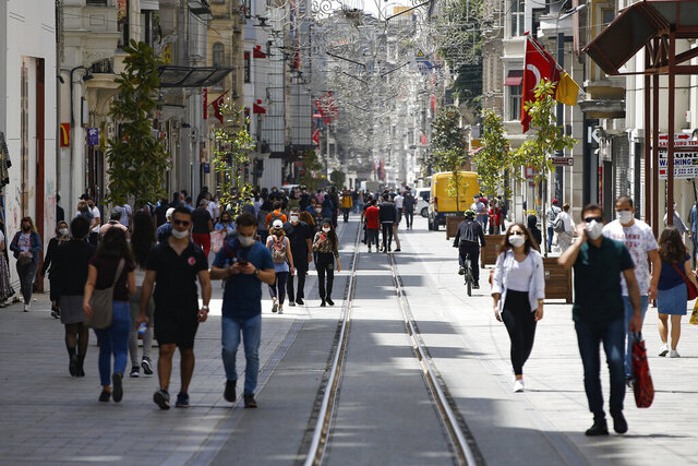 People walk on Istiklal street, the main shopping street in Istanbul, a few hours before the weekend lockdown due to the coronavirus, Friday, May 15, 2020. Teenagers were able to leave their homes for the first time in 42 days on Friday, as their turn came for a few hours of respite from Turkey's coronavirus lockdowns. Turkey has subjected people aged 65 and over and those younger than 20, to a curfew for the past several weeks. (AP Photo/Emrah Gurel)