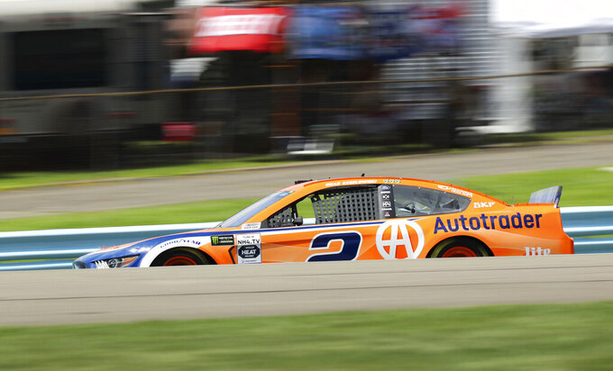 Brad Keselowski (2) takes to the track during a practice run for a NASCAR Cup Series auto race at Watkins Glen International, Saturday, Aug. 3, 2019, in Watkins Glen, N.Y. (AP Photo/John Munson)