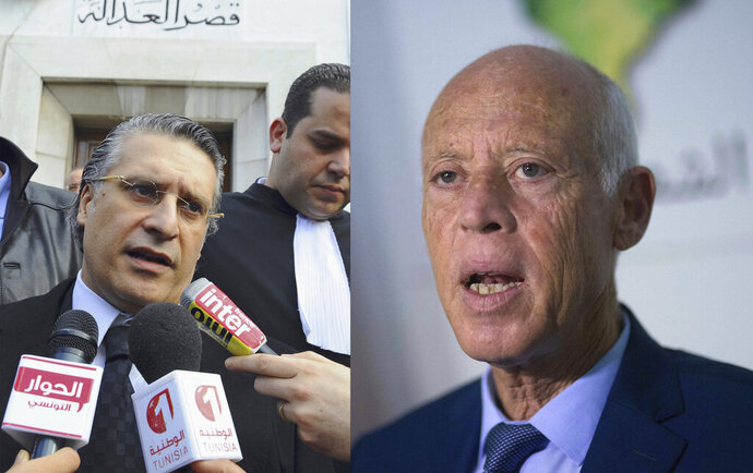This combination photo shows Nabil Karoui speaking to press after his trial in Tunis, Jan. 23, 2012, left, and Kais Saied speaking to the media in Tunis, Sept. 17, 2019. Tunisia's electoral authority says on Tuesday, Sept. 17 that jailed media magnate Nabil Karoui and independent law professor Kais Saied are advancing to the country's presidential election runoff. The electoral commission has announced that the two outsider candidates have come out on top in the first round of voting. (AP Photo)