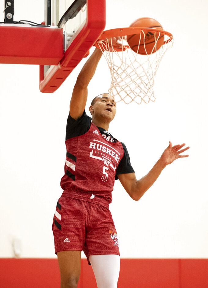 Bryce McGowens (5) dunks the ball during the Nebraska men's NCAA college basketball team's Pro Day workout Tuesday, Oct. 5, 2021, at the Hendricks Training Complex in Lincoln, Neb. (AP Photo/Rebecca S. Gratz)