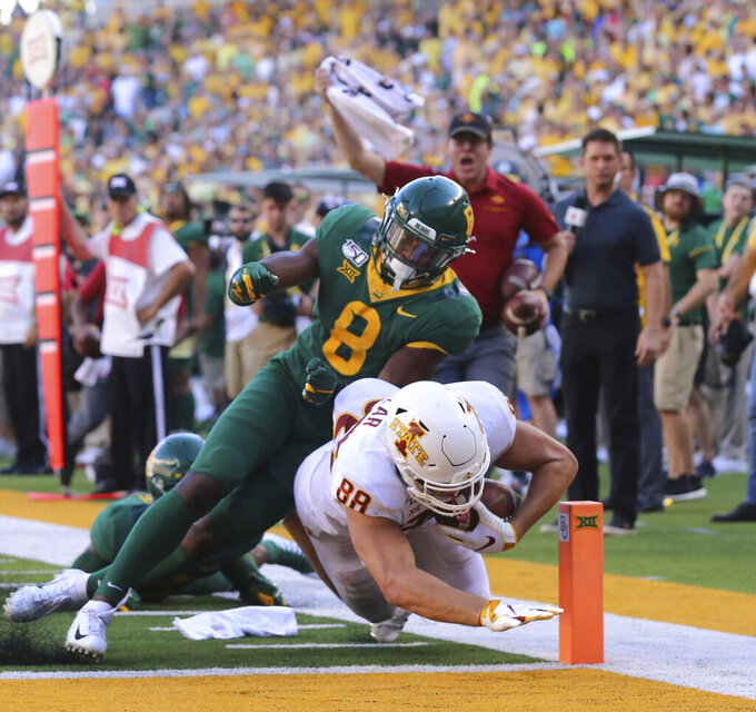 Iowa State tight end Charlie Kolar, right, scores past Baylor safety Henry Black, left in the second half of an NCAA college football game, Saturday, Sept. 28, 2019, in Waco, Texas. (Rod Aydelotte/Waco Tribune-Herald via AP)
