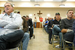 Residents listen to testimony during a field hearing of the Senate Committee on Environment and Public Works, in Glenwood, Iowa, Wednesday, April 17, 2019. The hearing was called to investigate the U.S. Army Corps of Engineers' Management of the 2019 Missouri River Basin Flooding. (AP Photo/Nati Harnik)