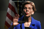 Democratic presidential candidate Sen. Elizabeth Warren, D-Mass., reads through a teleprompter during her address at the New Hampshire Institute of Politics in Manchester, N.H., Thursday, Dec. 12, 2019.(AP Photo/Charles Krupa)