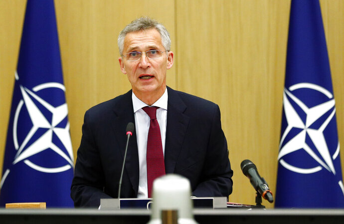 NATO Secretary General Jens Stoltenberg speaks during a video conference of NATO Defense Minister at the NATO headquarters in Brussels, Wednesday, June 17, 2020. NATO Defense Ministers began two days of video talks focused on deterring Russian aggression and a US decision to withdraw thousands of troops from Germany. (Francois Lenoir, Pool Photo via AP)