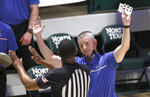 Boise State coach Leon Rice talks with a referee as Boise State played Memphis during the second half of an NCAA college basketball game in the semifinals of the NIT, Thursday, March 25, 2021, in Denton, Texas. (AP Photo/Ron Jenkins)