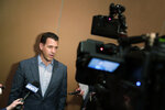 New York Mets general manager Brodie Van Wagenen speaks during a media availability during the Major League Baseball general managers annual meetings, Tuesday, Nov. 12, 2019, in Scottsdale, Ariz. (AP Photo/Matt York)