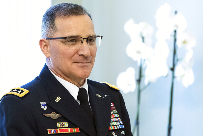 """FILE - In this March 16, 2017, file photo, NATO's Supreme Allied Commander Europe, Army Gen. Curtis Scaparrotti arrives for a meeting in Vilnius, Lithuania. The deep chill in U.S.-Russian relations is stirring concern in some quarters that Washington and Moscow are in danger of stumbling into an armed confrontation that, by mistake or miscalculation, could lead to nuclear war. """"During the Cold War, we understood each other's signals. We talked,"""" says Scaparrotti, who is about to retire. """"I'm concerned that we don't know them as well today."""" (AP Photo/Mindaugas Kulbis, File)"""