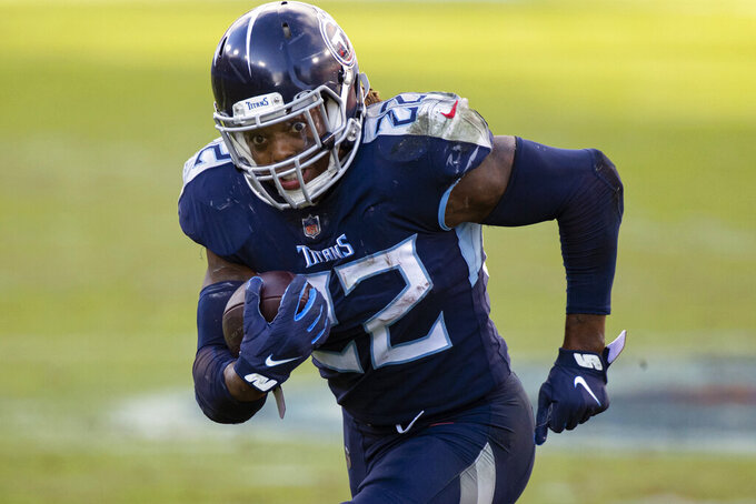 FILE - Tennessee Titans running back Derrick Henry (22) runs with the ball against the Detroit Lions during the fourth quarter of an NFL football game in Nashville, Tenn., in this Sunday, Dec. 20, 2020, file photo. Henry was selected Friday, Jan. 8, 2021, for The Associated Press NFL All-Pro Team. (AP Photo/Brett Carlsen, File)