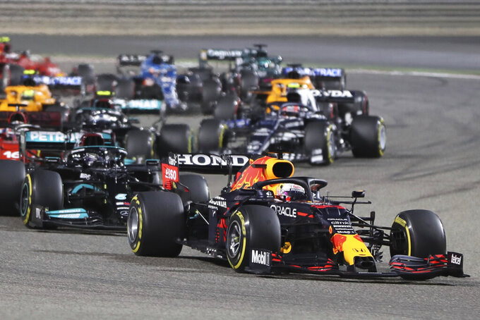Red Bull driver Max Verstappen of the Netherlands leads at the start of the Bahrain Formula One Grand Prix at the Bahrain International Circuit in Sakhir, Bahrain, Sunday, March 28, 2021. (AP Photo/Kamran Jebreili)