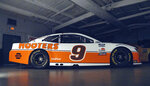 This undated photo provided by Hendrick Motorsports shows the car and paint scheme that Chase Elliott will drive to honor the late Alan Kulwicki at Darlington Raceway on May 9, 2021. (Henrick Motorsports via AP)
