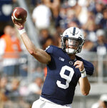 Penn State quarterback Trace McSorley (9) throws a pass against Appalachian State during the first half of an NCAA college football game in State College, Pa., Saturday, Sept. 1, 2018. (AP Photo/Chris Knight)