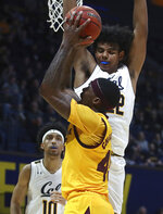 Arizona State's Zylan Cheatham shoots as California's California's Andre Kelly (22) defends during the first half of an NCAA college basketball game Wednesday, Jan. 9, 2019, in Berkeley, Calif. (AP Photo/Ben Margot)