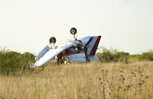 A plane is seen after crashing at Coulter Field in Bryan, Texas, Sunday, Aug. 30, 2020. (Darren Benson/College Station Eagle via AP)