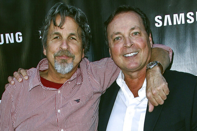 FILE - In this Aug. 10, 2015 file photo, Peter Farrelly, left, and Bobby Farrelly attend The Project Greenlight Season 4 premiere of