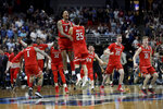 FILE - In this March 30, 2019, file photo, Texas Tech celebrates after a win against Gonzaga in the West Regional final in the NCAA Tournament in Anaheim, Calif. An Associated Press analysis of rosters of perennial NCAA Tournament teams concludes it takes NBA-caliber talent to go far consistently. And though this year's Final Four is being touted as one in which experience and teamwork won out over raw talent, three of the teams in Minneapolis, including Texas Tech, possess that young NBA talent. (AP Photo/Marcio Jose Sanchez, File)