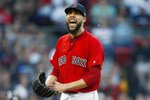 Boston Red Sox's David Price reacts after striking out Tampa Bay Rays' Daniel Robertson during the fifth inning of the second game of a baseball doubleheader in Boston, Saturday, June 8, 2019. (AP Photo/Michael Dwyer)
