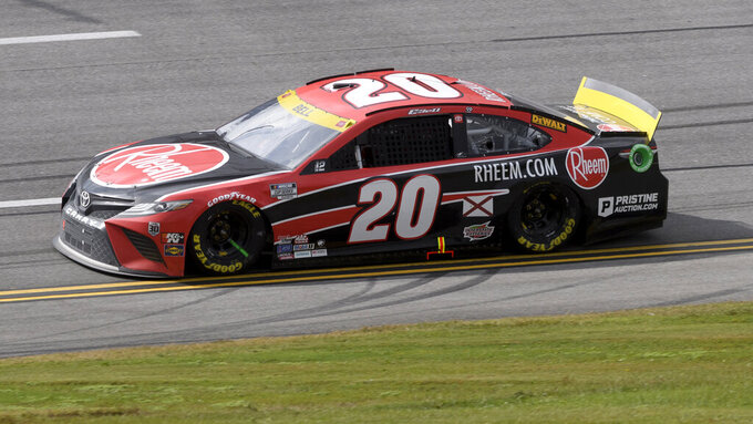 Christopher Bell drives during a NASCAR Cup series auto race Monday, Oct. 4, 2021, in Talladega, Ala. (AP Photo/John Amis)