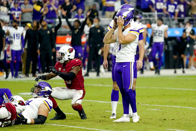 Minnesota Vikings kicker Greg Joseph (1) reacts to missing a game-winning field goal attempt against the Arizona Cardinals during the second half of an NFL football game, Sunday, Sept. 19, 2021, in Glendale, Ariz. The Cardinals won 34-33. (AP Photo/Ross D. Franklin)
