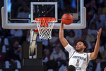 Georgia Tech forward James Banks III (1) grabs the rebound in the first half of an NCAA college basketball game against North Carolina State Saturday, Jan. 25, 2020, in Atlanta. Georgia Tech won 64-58. (AP Photo/Danny Karnik)