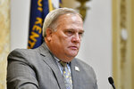 Kentucky Senate President Robert Stivers addresses the members of the Senate during the opening day of the Kentucky State Legislature special session in Frankfort, Ky., Tuesday, Sept. 7, 2021. (AP Photo/Timothy D. Easley)