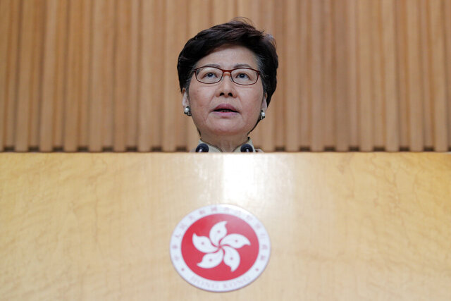 "Hong Kong Chief Executive Carrie Lam speaks during a news conference at the Office of the Chief Executive in Hong Kong, Tuesday, Jan. 7, 2020. Lam said the city faces multiple challenges in the new year, including ""violence, economic tribulation and a health scare"