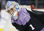 New York Islanders goaltender Thomas Greiss (1) wears a Hockey Fights Cancer jersey as he warms up before an NHL hockey game against the Florida Panthers, Saturday, Nov. 9, 2019, in New York (AP Photo/Jim McIsaac)