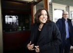 Democratic presidential candidate Sen. Kamala Harris, D-Calif., smiles as she arrives at the Common Man Restaurant for lunch in Concord, N.H., Monday, Feb. 18, 2019.  (AP Photo/Elise Amendola)
