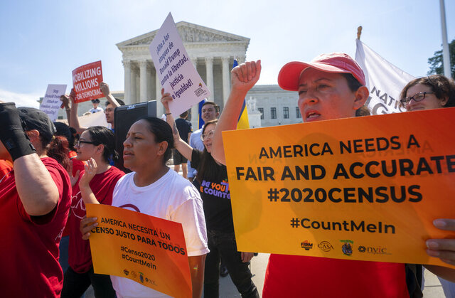 FILE In this June 27, 2019, file photo, demonstrators gather at the Supreme Court as the justices finish the term with key decisions on gerrymandering and a census case involving an attempt by the Trump administration to ask everyone about their citizenship status in the 2020 census, on Capitol Hill in Washington. The U.S. Census Bureau has spent much of the past year defending itself against allegations that its duties have been overtaken by politics. With a failed attempt by the Trump administration to add a citizenship question, the hiring of three political appointees with limited experience to top positions, a sped-up schedule and a directive from President Donald Trump to exclude undocumented residents from the process of redrawing congressional districts, the 2020 census has descended into a high-stakes partisan battle. (AP Photo/J. Scott Applewhite, File)