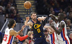 Cleveland Cavaliers' Kevin Love (0) passes against the Detroit Pistons in the second half of an NBA basketball game, Tuesday, Jan. 7, 2020, in Cleveland. Detroit won 115-113.(AP Photo/Tony Dejak)