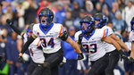 Boise State safety Alexander Teubner (34) celebrates a BYU fumble recovery in the first half during an NCAA college football game Saturday, Oct. 9, 2021, in Provo, Utah. (AP Photo/Rick Bowmer)