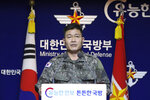 South Korea's Director of Operations in Joint Chiefs of Staff Jeon Dong jin briefs to the media at the Defense Ministry in Seoul, South Korea, Thursday, Nov. 28, 2019. North Korea on Thursday fired two unidentified projectiles into the sea, South Korea's military said, three days after the North said its troops conducted artillery drills near its disputed sea boundary with South Korea. (Yun Dong-jin/Yonhap via AP)