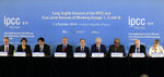 Intergovernmental Panel on Climate Change, IPCC, Chair Hoesung Lee, center, and other leaders hold a press conference in Incheon, South Korea, Monday, Oct. 8, 2018. Preventing an extra single degree of heat could make a life-or-death difference in the next few decades for multitudes of people and ecosystems on this fast-warming planet, an international panel of scientists reported Sunday. But they provide little hope the world will rise to the challenge. (AP Photo/Ahn Young-joon)