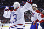 Montreal Canadiens defenseman Jeff Petry (26) reacts after scoring a goal during the second period of an NHL hockey game against the Florida Panthers, Sunday, Dec. 29, 2019, in Sunrise, Fla. (AP Photo/Lynne Sladky)
