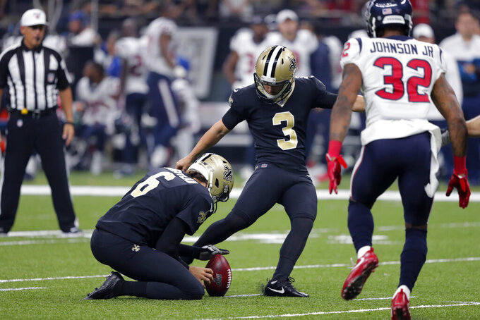 New Orleans Saints kicker Wil Lutz (3) kicks a field goal in the first half of an NFL football game against the Houston Texans in New Orleans, Monday, Sept. 9, 2019. (AP Photo/Bill Feig)