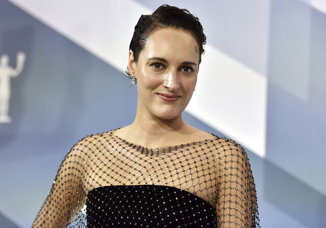 """FILE - In this Sunday, Jan. 19, 2020 file photo, Phoebe Waller-Bridge arrives at the 26th annual Screen Actors Guild Awards at the Shrine Auditorium & Expo Hall on , in Los Angeles. The one-woman stage version of Waller-Bridge's barbed sitcom """"Fleabag"""" is nominated for best entertainment or comedy play at Britain's Olivier theater awards, it was announced Tuesday, March 3, 2020. Waller-Bridge is also nominated for best actress in a play, competing with Hayley Atwell for """"Rosmersholm,"""" Sharon D. Clarke for """"Death of a Salesman,"""" and Juliet Stevenson for """"The Doctor.""""     (Photo by Richard Shotwell/Invision/AP, file)"""